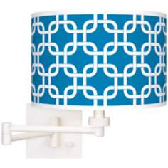 Blue Lattice Giclee White Swing Arm Wall Light