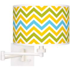 Citrus Zig Zag Giclee White Swing Arm Wall Light