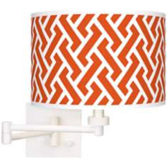 Red Brick Weave Giclee White Swing Arm Wall Light