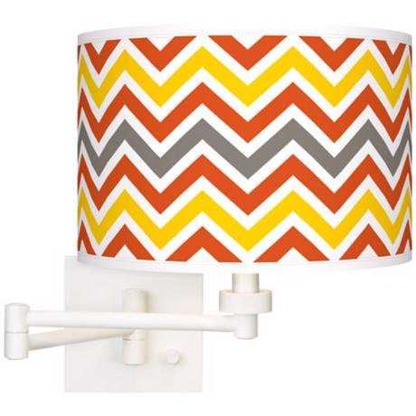 Flame Zig Zag  Giclee White Swing Arm Wall Light