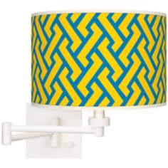 Yellow Brick Weave Giclee White Swing Arm Wall Light