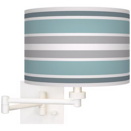Multi Color Stripes Giclee White Swing Arm Wall Light