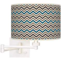 Zig Zag Giclee White Swing Arm Wall Light