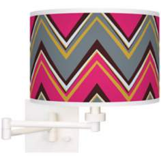 Stacy Garcia Chevron Pride Pink Giclee White Swing Arm Wall Light