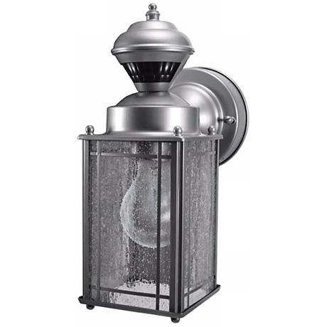 Shaker Cove Silver Finish Motion Sensor Outdoor Light