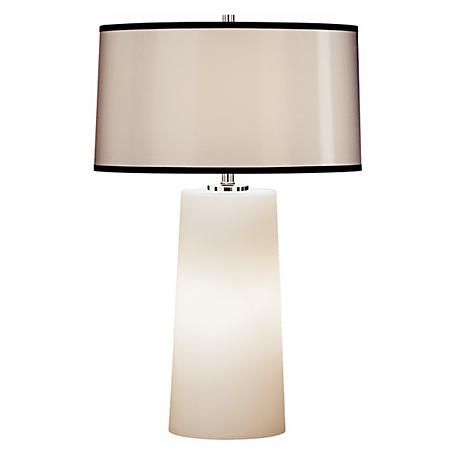 Robert Abbey White Frosted Glass with Black Trim Shade Lamp