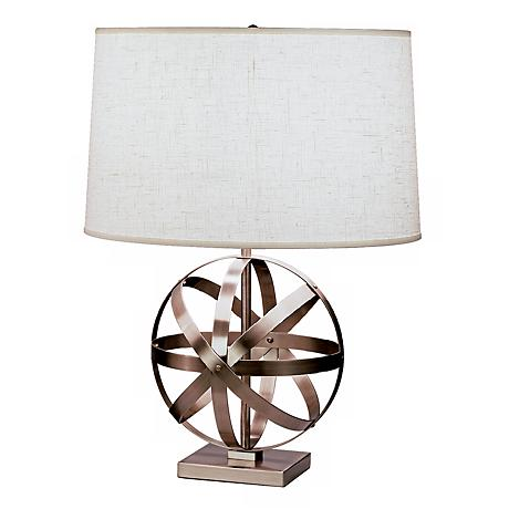 Robert Abbey Nickel with Oyster Linen Shade Table Lamp