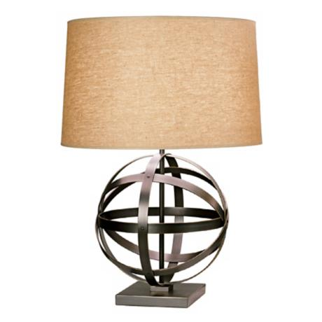 Robert Abbey Bronze with Driftwood Linen Shade Table Lamp