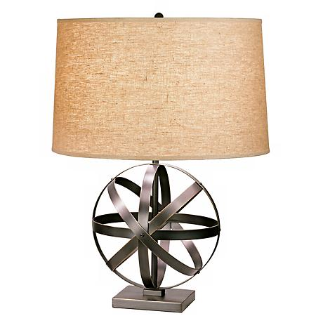 Robert Abbey Bronze with Driftwood Linen Shade Accent Lamp