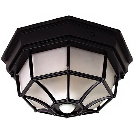 Octagonal Black Motion Sensor Outdoor Ceiling Light