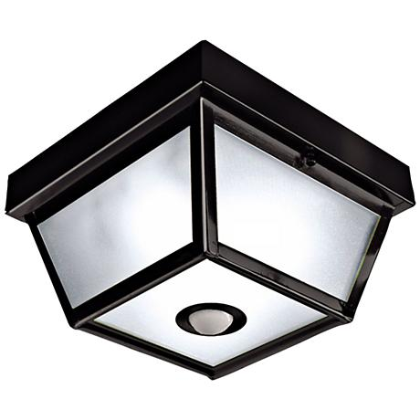 Square Black Finish Motion Sensor Outdoor Ceiling Light