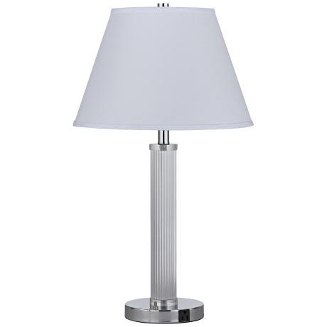 Ribbed Column Chrome Finished Steel Two Light Table Lamp