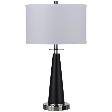 Graduated Black Column Two Light Table Lamp