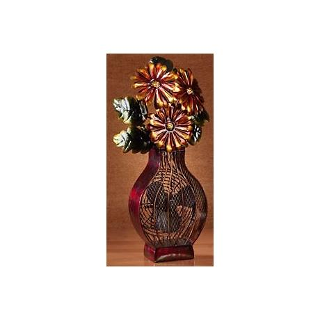 Deco Decorative Painted Finish Flower Vase Fan
