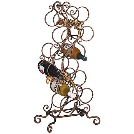 Florence Brassed Iron Swirl 12 Bottle Metal Wine Rack