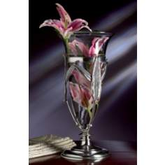 Antique Silver Floating Leaf Glass Vase