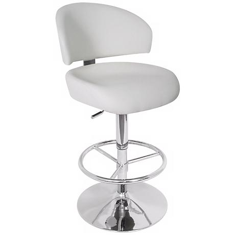 Regeni Adjustable Height White Bar Stool
