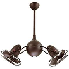 "37"" Acqua Textured Bronze Dual Head Rotational Ceiling Fan"