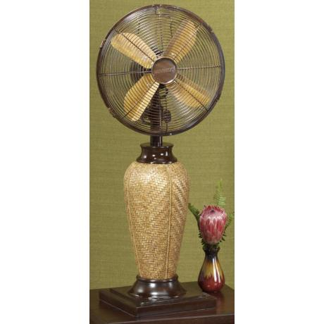 "Kailua 33"" High Koa Wood Finish Tabletop Fan"