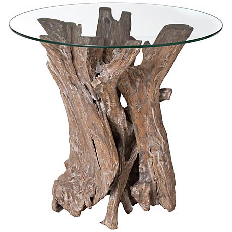Driftwood with Glass Top Side Table