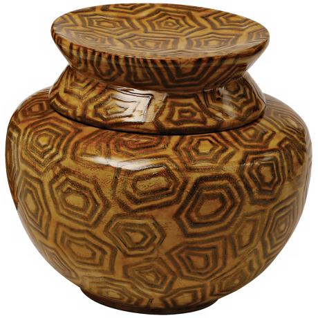 Mustard and Brown Lacquered Bamboo Bowl