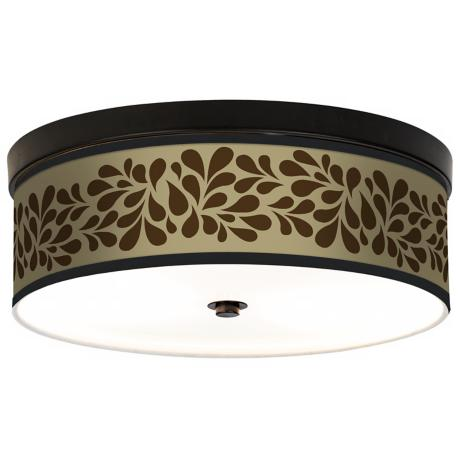 Brown Splash on Tan Giclee Energy Efficient Bronze Ceiling Light