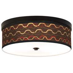 Wave Stitch Giclee Energy Efficient Bronze Ceiling Light