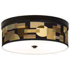 Earthy Geometrics Giclee Energy Efficient Bronze Ceiling Light