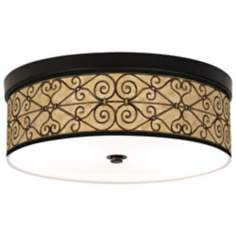 Trellis Hearts Giclee Bronze CFL Ceiling Light