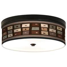 Retro Rectangles Giclee Bronze CFL Ceiling Light