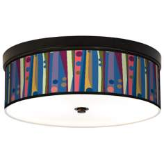 Retro Dots Vertical Giclee Bronze CFL Ceiling Light