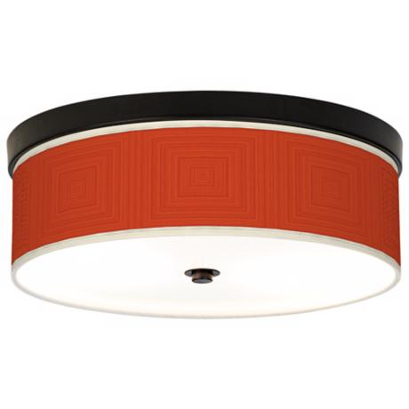 Stacy Garcia Crackled Square Coral Bronze CFL Ceiling Light