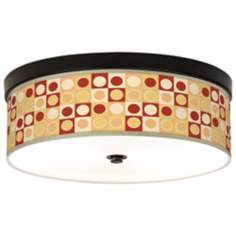 Retro Dotted Squares Giclee Bronze CFL Ceiling Light