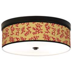 Crimson Coral Giclee Bronze CFL Ceiling Light