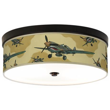 Flying Tigers Giclee Bronze CFL Ceiling Light