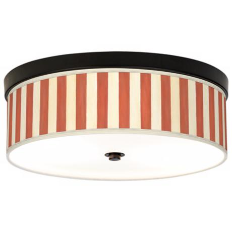 Seaside Stripe Red Giclee Bronze CFL Ceiling Light