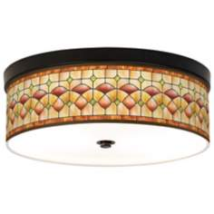Tiffany Ochre Giclee Bronze CFL Ceiling Light