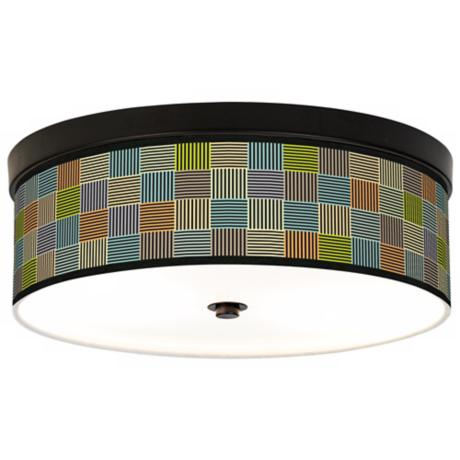 Pixel City Giclee Bronze CFL Ceiling Light