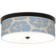 "Floral Blue Silhouette 14"" Wide CFL Bronze Ceiling Light"