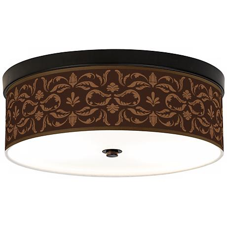 Mocha Flourish Linen Giclee Energy Efficient Ceiling Light