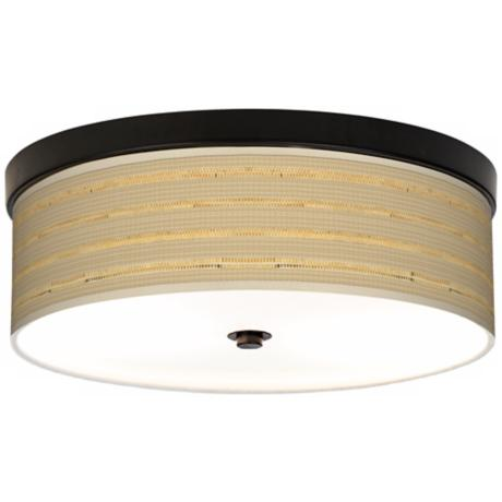 Woven Reed Giclee Energy Efficient Flushmount Ceiling Light