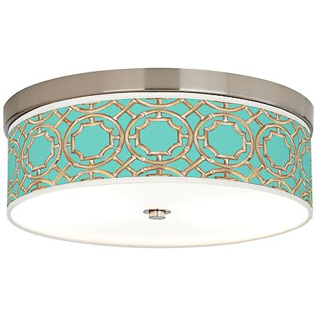 Teal Bamboo Trellis Giclee Energy Efficient Ceiling Light