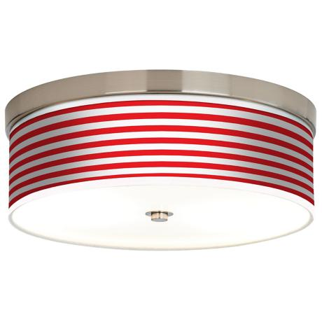 Red Horizontal Stripe Giclee Energy Efficient Ceiling Light
