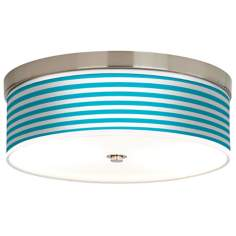 Aqua Horizontal Stripe Giclee Energy Efficient Ceiling Light
