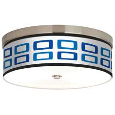 Blue Rectangles Giclee Energy Efficient Ceiling Light