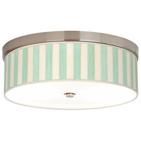 Seaside Stripe Green Giclee Nickel CFL Flushmount Ceiling Light