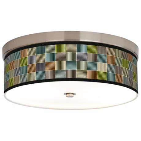 Pixel City Giclee Nickel CFL Flushmount Ceiling Light