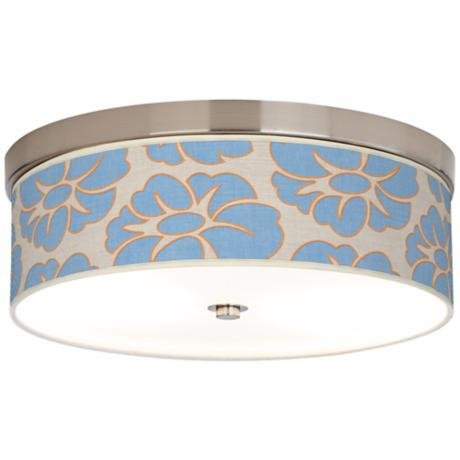 "Floral Blue Silhouette 14"" Wide CFL Nickel Ceiling Light"