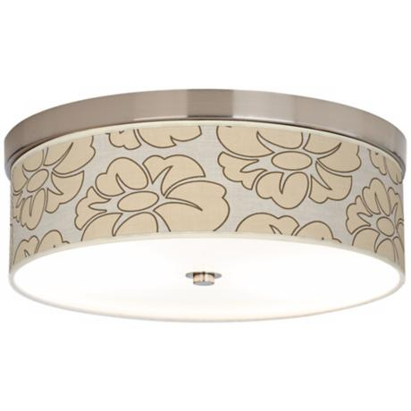 "Floral Silhouette Giclee 14"" Wide CFL Nickel Ceiling Light"