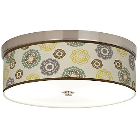 "Ornaments Linen Giclee Nickel 14"" Wide CFL Ceiling Light"